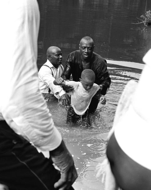 A pond baptism in East Texas.