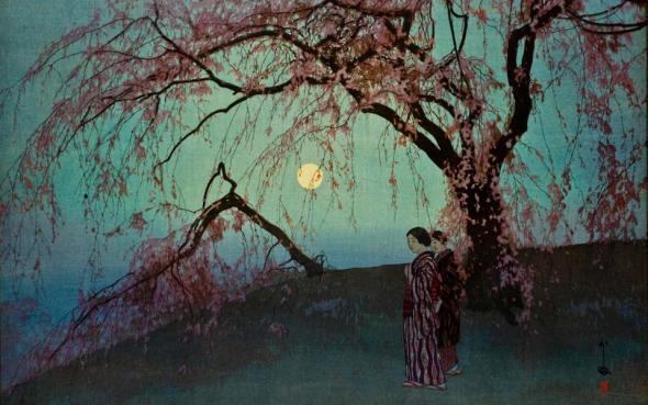 Detail from Kumoi Cherry Trees (Kumoi sakura) by Yoshida Hiroshi, 1926.